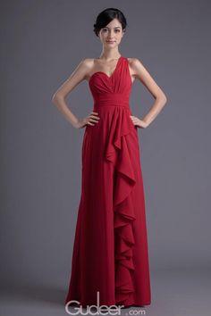ruffled wine chiffon sweetheart empire long prom dress