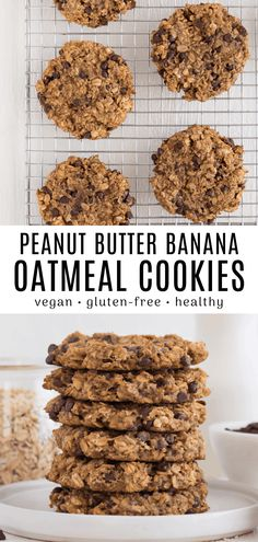 These peanut butter banana oatmeal cookies are vegan, gluten-free, and oil-free. It's an easy recipe that only requires three ingredients and one bowl! Chocolate Chip Cookies, Peanut Butter Banana Cookies, Healthy Oatmeal Cookies, Peanut Butter Oatmeal, Vegan Banana Cookies, Keto Cookies, Banana Recipes Vegan, Healthy Breakfast Cookies, Healthy Vegan Cookies