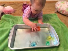 Activities for you 6 month old: Colored Ice Cube Chase 7 Month Old Baby Activities, Baby Learning Activities, Fun Activities To Do, Infant Activities, Six Month Old Baby, Baby Month By Month, Baby Boys, Baby Sensory Play, Baby Play