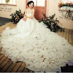 Discount White Organza Beaded Halter Formal Royal Wedding Bridal Gown SKU-119089