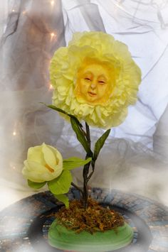 Alice in Wonderland Bright Yellow  Flower face by ShariDeppDesigns, $49.99