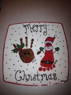 Christmas handprint and footprint plate pottery painting idea.