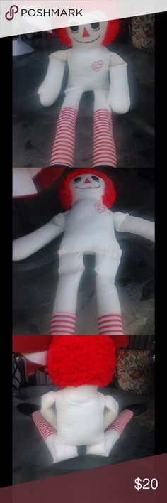 Stuffed vintage raggedy Ann doll Vintage stuffed large raggedy Ann doll God Preowned condition- note do ask about rare beanie babies Raggady ann Other
