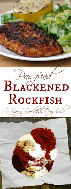 Spicy Pan-fried Blackened Rockfish - BEST ever! The secret is the spicy dry rub, seasoned with smokey paprika and three kinds of dried peppers. It just the right amount of kick, without overpowering the flavor of the fish. | The Good Hearted Woman