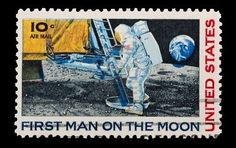 U.S. mail stamp featuring the first man on the moon