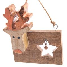Wooden Moose with Star Cutout Ornament | Christmas | Woodland  - Cracker Barrel Old Country Store