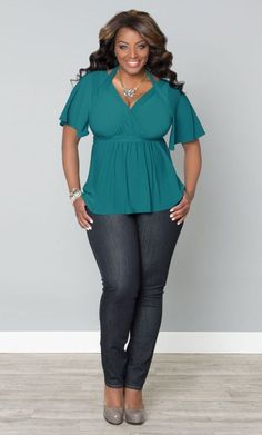 Starlet Flutter Sleeve Top -Turquoise