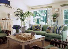 GEORGICA POND living room, blue, green and white