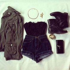 Absolutely love this black bustier, high waisted shorts, boots, and army style jacket.
