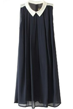 #Navy Lapel #Sleeveless Pleated Chiffon #Dress #vintage