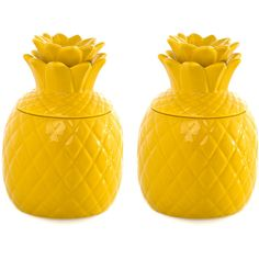 Pina Pineapple Jar Set Of 2 found on Polyvore featuring home, kitchen & dining, fruit jar, colored jars and stoneware jar