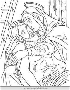 Free Printable Catholic Coloring Pages for Kids - The Catholic Kid Jesus Coloring Pages, Free Printable Coloring Pages, Coloring Pages For Kids, Catholic Lent, La Pieta, New Testament Bible, Book Log, Crucifixion Of Jesus