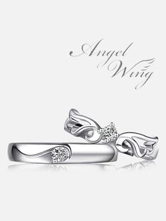 Matching rings set for couples ~ Angel Wing