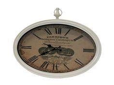 Ceas de perete oval de culoare alba si dimensiuni 50 X 33 cm. Pocket Watch, Clock, Retro, Vintage, Accessories, Design, Home Decor, Products, Watch
