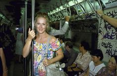 Actress Meryl Streep Riding In A NYC Subway Train In 90's