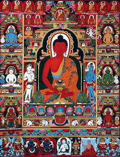 Amitabha who has Discriminating Wisdom, the ability to see the particularity of things so that the poison of greed can be transmuted.   full lg Thangka