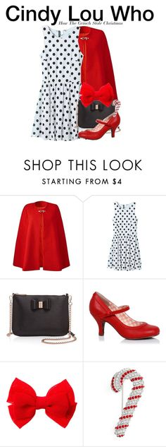 """Cindy Lou Who - How The Grinch Stole Christmas"" by nerd-ville ❤ liked on Polyvore featuring WithChic, Ted Baker and Nadri"