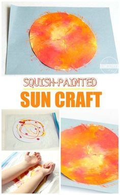 Squish Painted Sun Craft - This is such a fun, mess free painting, sun craft for kids to make. Perfect summer craft for kids or to celebrate the summer solstice (preschool, prek, toddler, kindergarten, first grade, 2nd grade)