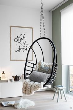 Hanging chair to unwind and relax. | Deloufleur Decor & Designs | (618) 985-3355 | www.deloufleur.com