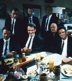 Steve Buscemi, Harvey Keitel, Quentin Tarantino, Michael Madsen, Tim Roth, Chris Penn, Edward Bunker, and Lawrence Tierney in Reservoir Dogs (1992)