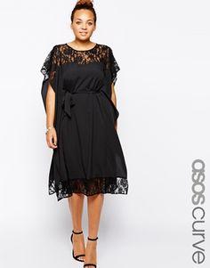 66bba152c081d Enlarge ASOS CURVE Lace Insert Kimono Dress Glam Dresses