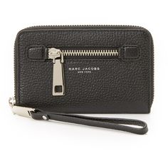 Marc Jacobs Gotham Zip Wristlet ($155) ❤ liked on Polyvore featuring bags, handbags, clutches, black, pocket purse, leather handbags, leather clutches, marc jacobs clutches and leather purse
