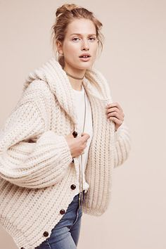 Hooded & Cabled Cardigan - anthropologie.com