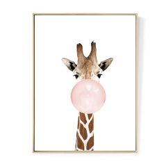 Funny giraffe blowing a bubble gum bubble canvas art. Bubble Drawing, Bubble Painting, Giraffe Drawing, Giraffe Art, Funny Giraffe, Cute Giraffe, Nursery Art, Animal Nursery, Giraffe Bedroom