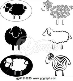 Vector Art - Black silhouettes of sheep. Clipart Drawing ...