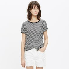 Slub Crewneck Tee in Stripe : short sleeve | Madewell
