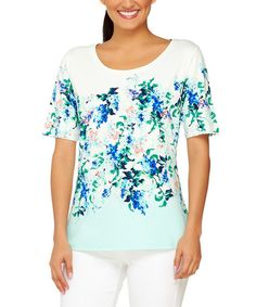 Another great find on #zulily! Turquoise Floral Crewneck Top #zulilyfinds
