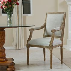 817056016387 Martin Oak Natural Fabric Rattan Arm Chair View in Room