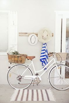 love a white cruiser bike, old french basket, nautical stripes, deck and beach h. - Life's a Beach - Bike Velo Vintage, Vintage Bicycles, Vintage Style, Vintage Bike Decor, Vintage Décor, Bicycle Decor, Bicycle Design, Photoshop Design, Beach Cottage Style