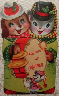 Die-Cut - Puppy, Kitten, Bear Musicans -1950's Vintage Christmas Greeting Card