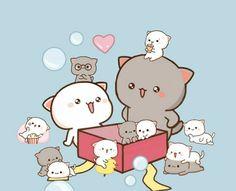 Cute Panda Cartoon, Cute Anime Cat, Cute Cartoon Pictures, Cute Cat Gif, Chibi Cat, Cute Chibi, Anime Chibi, Cute Doodle Art, Cute Doodles