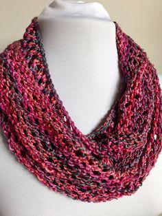 Infinity Scarf Cowl Hand Knit Pink Grey by StitchesnQuilts on Etsy