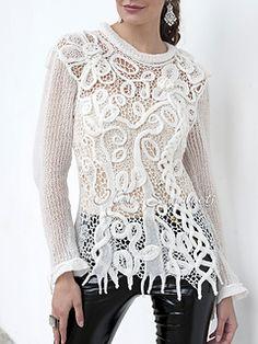 Dsc_2600__small2 White Sweaters, Crochet, Long Sleeve, Lace, Sleeves, Tops, Women, Fashion, Down Vest