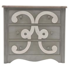 Featuring a dark grey finish and scrolling detail, this charming 3-drawer chest adds a pop of style to your master suite or guest bedroom.