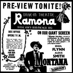 Ramona Drive-In in Hamilton, Ohio: Grand opening ad for the Ramona Drive-in dated May 26, 1950.