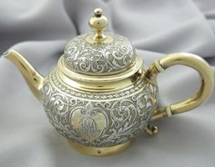 Beautiful French 19th century parcel gilt 950 (1st minerva mark) silver teapot, made by Emile Hugo, Paris c1870's (sanrise111)