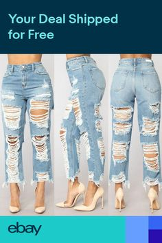 8a342418cfdaa Fashion Womens Skinny Destroy Street Jeans Faded Ripped Slim Denim Cotton  Pants