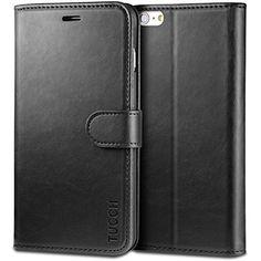 TUCCH® - Funda de cuero para iPhone 6s/6 (4.7 Pulgadas), función de soporte móvil, cierre magnético con ranura para tarjeta crédito monedero protección, color negro - http://www.tiendasmoviles.net/2015/12/tucch-funda-de-cuero-para-iphone-6s6-4-7-pulgadas-funcion-de-soporte-movil-cierre-magnetico-con-ranura-para-tarjeta-credito-monedero-proteccion-color-negro/