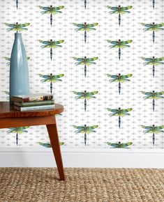Wallpaper, dragonflies, flora and fauna, nature. Coated non-woven plate the wall wallpaper. Dragonfly Wallpaper, Wall Wallpaper, Rachel Reynolds, Fly On The Wall, Luxury Wallpaper, Flora And Fauna, Dragonflies, Lampshades, Home Accessories