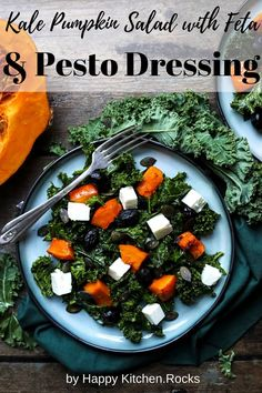 This Kale Pumpkin Salad with Feta and Pesto Dressing is easy-to-make, fast, healthy and delicious. It's the perfect fall kale salad with squash and it comes together in less than 30 minutes. Good Healthy Recipes, Gluten Free Recipes, Low Carb Recipes, Vegetarian Recipes, Jamacian Food, Caribbean Recipes, Caribbean Food, Pesto Dressing, Pumpkin Salad