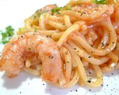 Espaguettis con camarones