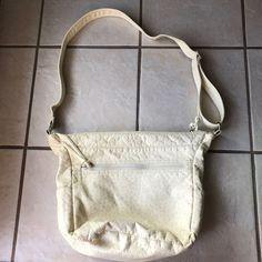GAL Cream Beige Polka Dot Triple Zip Pocket Adjustable Strap Shoulder Bag Purse #GAL #ShoulderBag