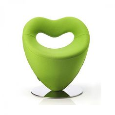 Swivel Heart shape light green unique armchair with chromium plater base Love
