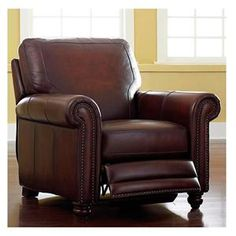 Hamilton Leather Push-Back Recliner in Saddle | Nebraska Furniture Mart