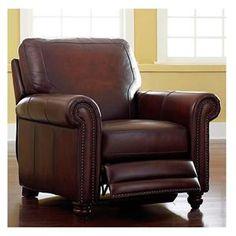 Hamilton Leather Push-Back Recliner in Saddle   Nebraska Furniture Mart