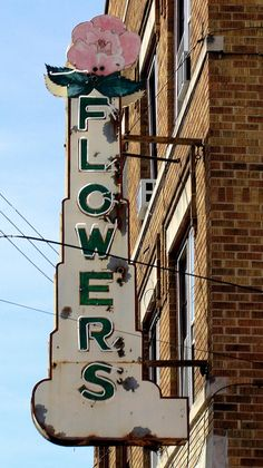 Vintage Flowers neon sign in Morgantown, WV.